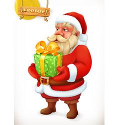 Santa Claus cartoon character Christmas gift 3d vector image