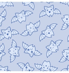 Seamless kawaii cartoon pattern with cute bats vector