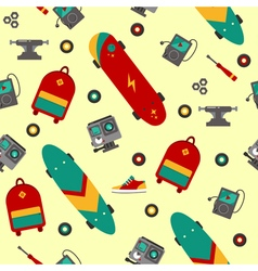 Seamless pattern with skateboarding accessories vector