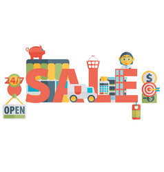 Set of flat icons about shopping sale vector
