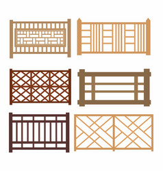 Set of wood fences vector