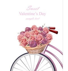 sweet valentine day card with roses flowers vector image