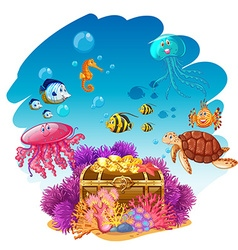 Treassure chest and sea animals underwater vector image