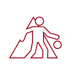 triangle shape basketball dribbling outline sport vector image