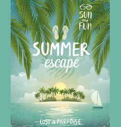 tropical beach poster summer escape vector image vector image