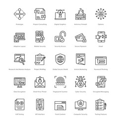 web and seo line icons 21 vector image vector image