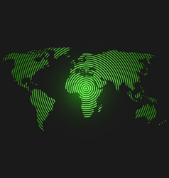 World map of concentric rings green led light vector