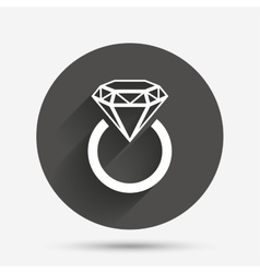 Jewelry sign icon ring with diamond symbol vector