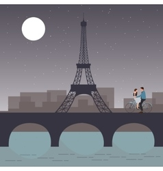 Couple bicycle in paris with eiffel tower romantic vector