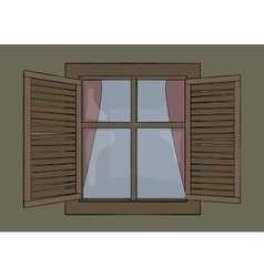 Window with old wooden shutters vector