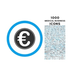 Euro coin rounded icon with 1000 bonus icons vector