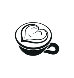 Cappuccino cup with hearts design on top vector