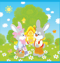 Bunnies on easter sunday vector
