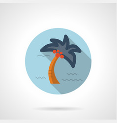 Tropical palm flat blue round icon vector