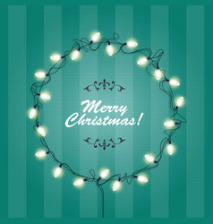 Christmas lights wreath frame - round festive vector
