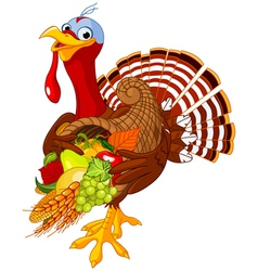 Turkey with cornucopia vector image