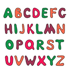 Doodle hand drawn alphabet vector image