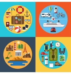 Icons set of traveling tourism hiking vector