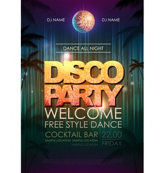 Typography disco background disco party poster vector