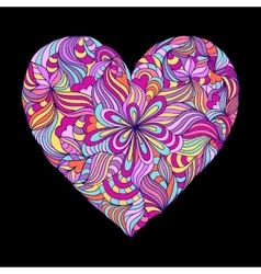 Colorful heart on black background vector
