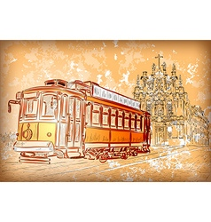 A tram and a church vector