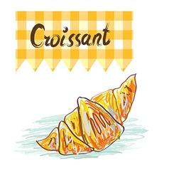 Croissant sketchy card - vector