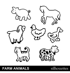 Farm animals silhouettes isolated on white vector