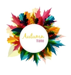 Natural sunny autumn leaves frame background vector