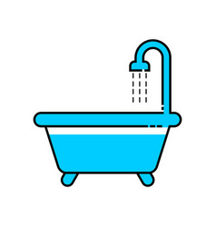 Bath line icon vector