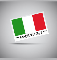 card made in italy with italian flag vector image