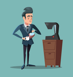 Cartoon businessman making coffee work break vector