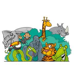 cartoon jungle wild animal characters vector image