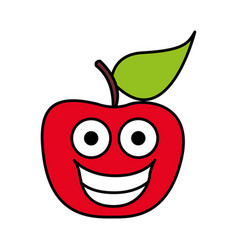 color red kawaii fruit apple happy icon vector image