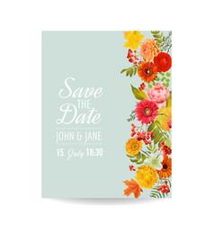 Floral wedding invitation card with autumn vector