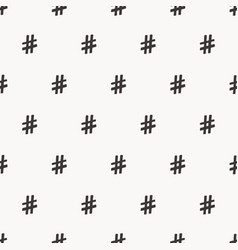 Hand drawn hashtag symbol seamless pattern vector