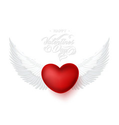 heart with angel wings happy valentines day vector image