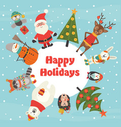 holiday card with christmas characters vector image