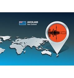 Map pin with Auckland skyline vector image