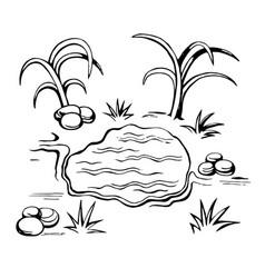 oasis sketch in the desert vector image