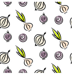 Onion doodle different types seamless vector