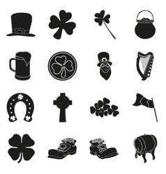 Patrick day collection of holiday icons on white vector