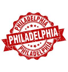 Philadelphia round ribbon seal vector