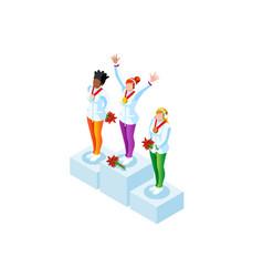podium clipart winter sports winners vector image