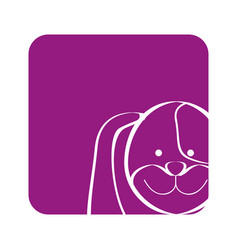 Purple square picture of dog animal vector