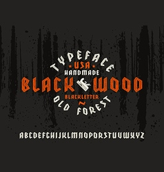 Sanserif font in black letter style decorated wood vector