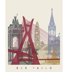 Sao Paulo skyline poster vector image vector image