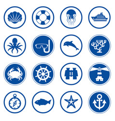 sea and ocean flat icons collection vector image vector image