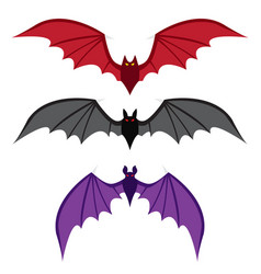 Set of bat with big wings in color in flat style vector
