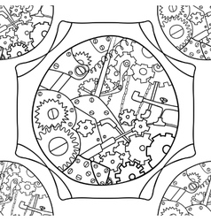Steampunk black and white doodle seamless pattern vector