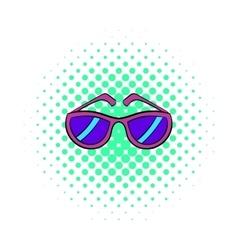 Sunglasses icon comics style vector image